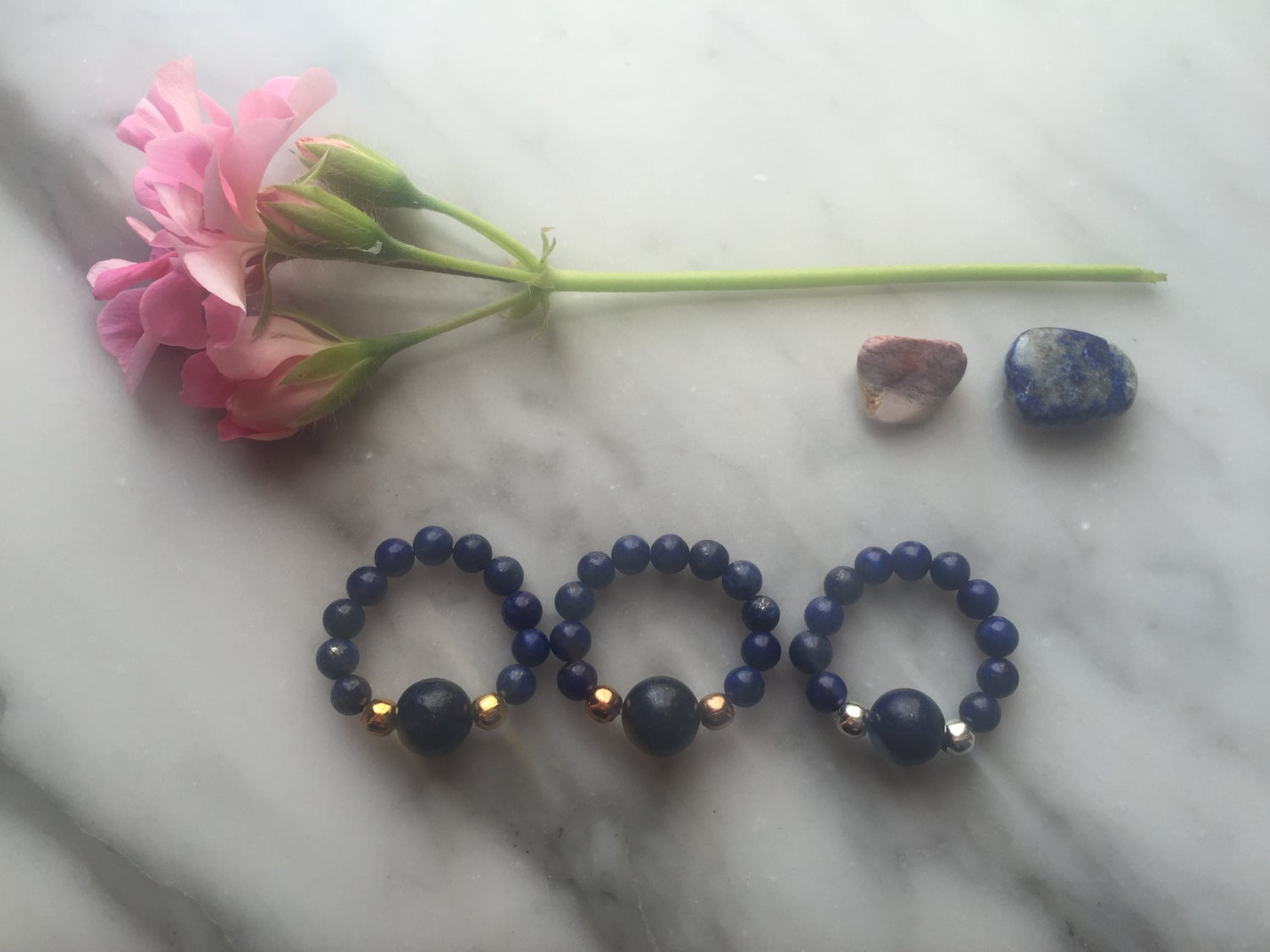 Feature Bead Stretch Ring in Lapis Lazuli