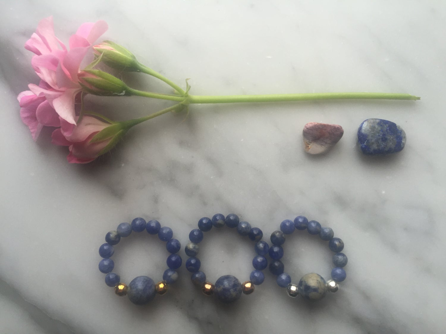 Feature Bead Stretch Ring in Sodalite