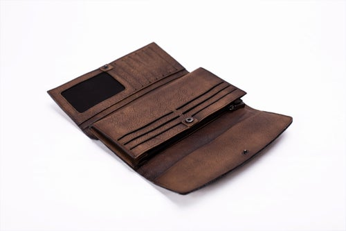 Image of Vintage Style Genuine Natural Leather Wallet, Long Wallet, Men's Wallet 9056