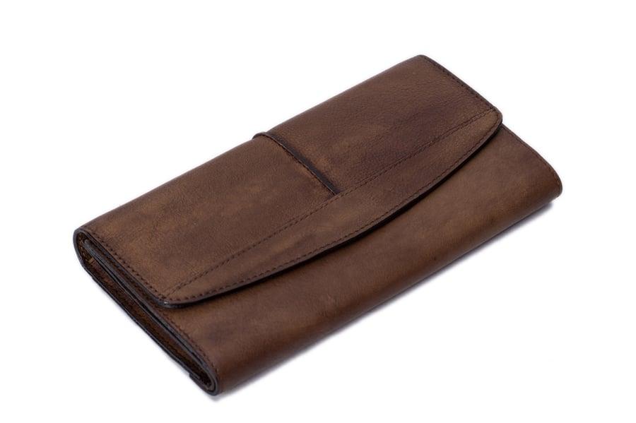 Image of Vintage Style Genuine Natural Leather Wallet, Long Wallet, Men's Wallet 9056