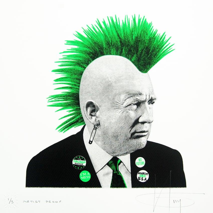 Image of PUNK TRUMP... 1/3 Arist Proof - GREEN Neon