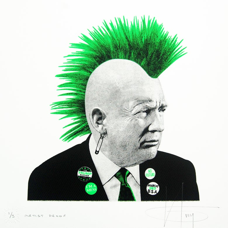 Image of PUNK TRUMP... 1/3 Arist Proof - GREEN Neon