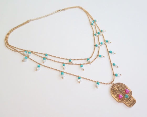 Image of Triple Sugar Skull Pearls and Turquoise Necklace
