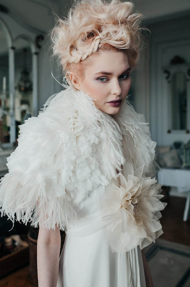 Image of Fifi silk tulle and feather shrug