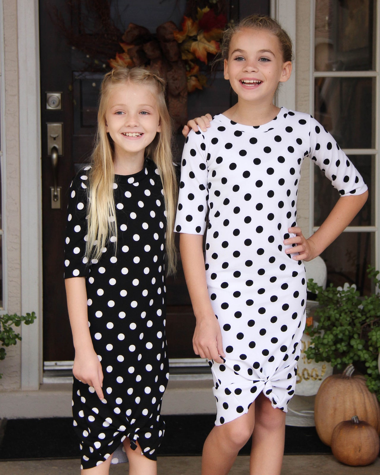 Image of Baby/Girls Black with White Polka Dots Knot Knit Dress