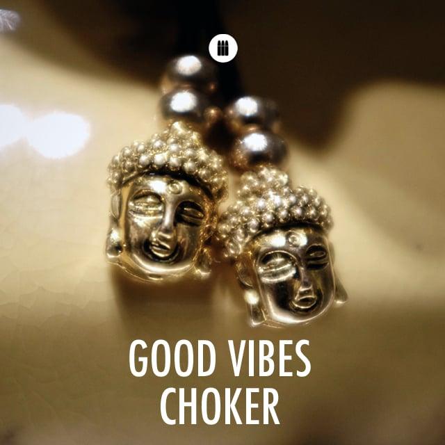 "Image of ""Good Vibes"" Men's Choker  (Black/Gold)"