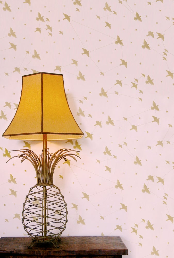 Image of Star-ling Wallpaper - Rose-Marais & Gold
