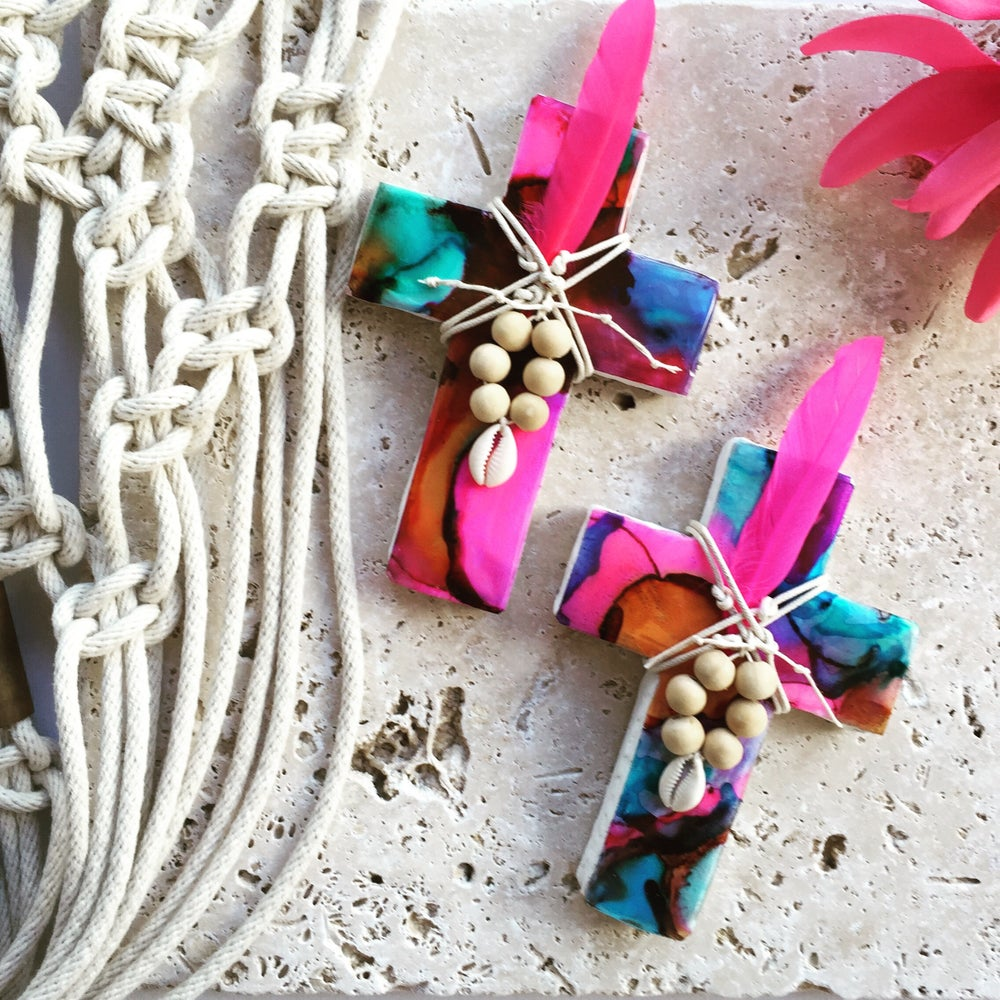 Image of Jewels of the Sea Cross - Pink/Blue/Aqua/Orange