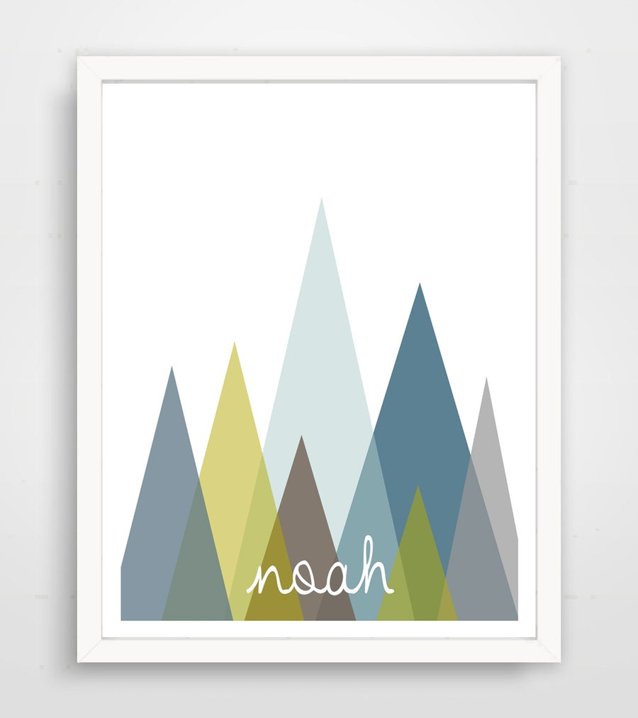 Image of Personalized Blue Abstract Mountain Name Print