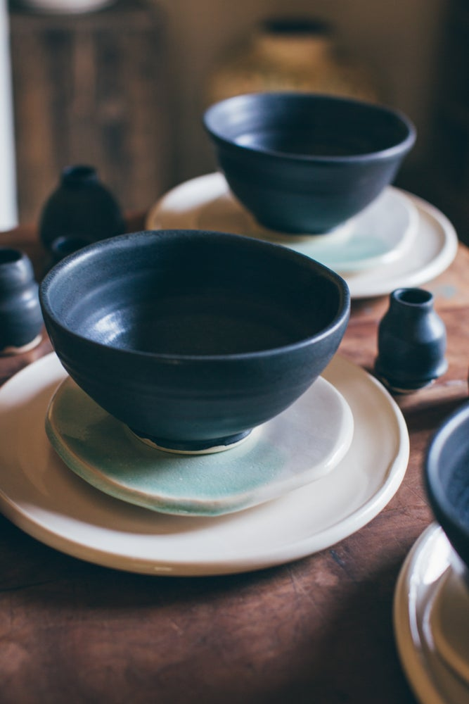 Image of Watercolor Blue & Black place setting
