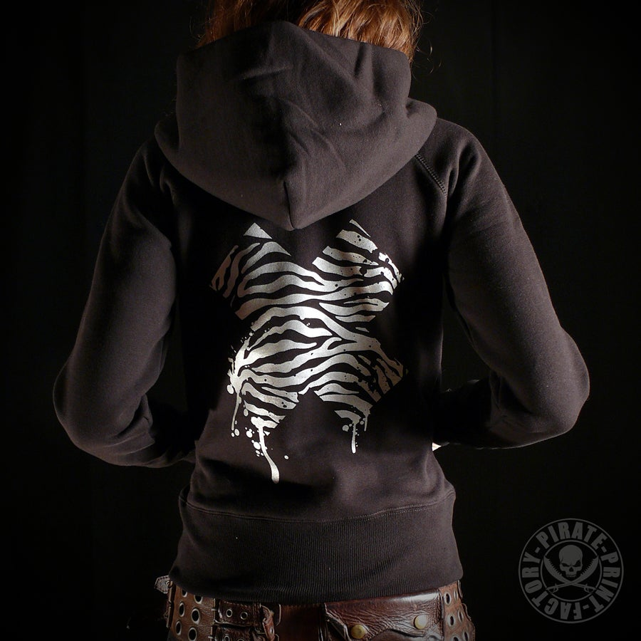 Image of SWEAT CAPUCHE ZIP X ZEBRE GIRLY NOIR