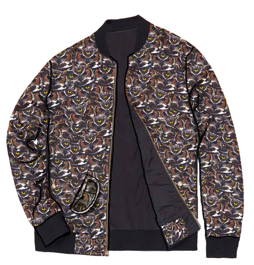 "Image of ""WOO CLAN"" ALL BLACK/OWL PATTERN REVERSIBLE BOMBER JACKET"