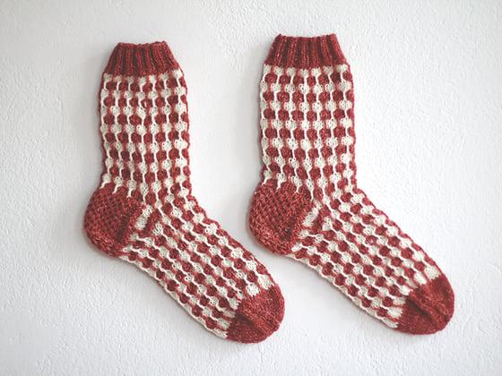 Image of Organic white dots orange socks