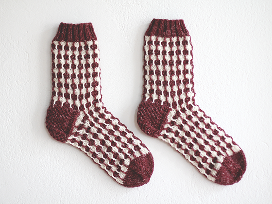 Image of Organic white dots Bordeaux socks