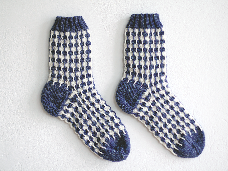 Organic white dots blue socks