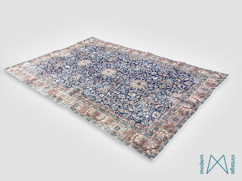 Image of Recoloured vintage persian rug in blue and red