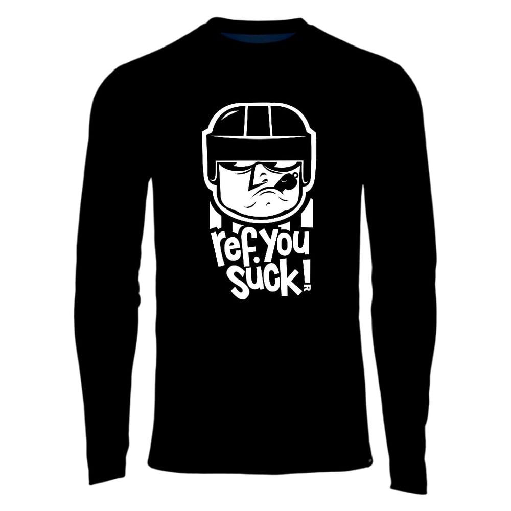Ref You Suck - hockey referee t-shirt (black, red, or orange)