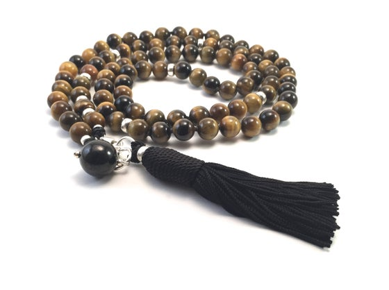 Image of Tiger Eye Double Infinity Mala 88