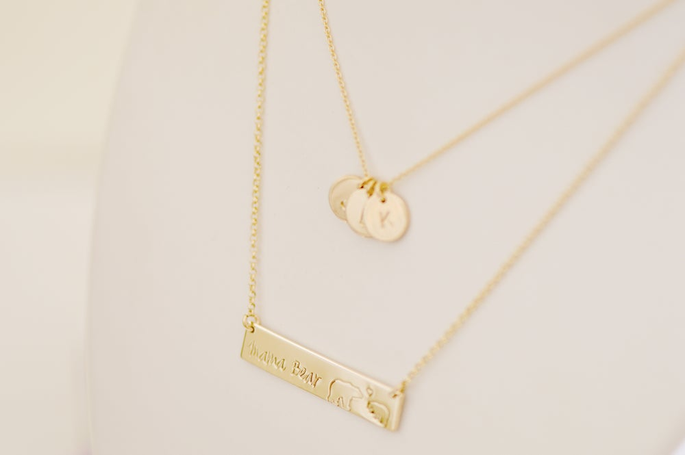 Image of Mama Bear Bar Necklace - Mama - Baby Bear Bar Necklace - Nameplate - Mother's Bar Necklace