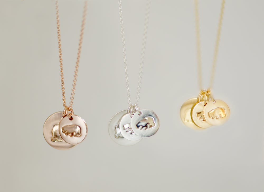 Image of Mama Bear - Baby Bear Disc Necklace - Mama Bear Disk Necklace - Mother's Necklace
