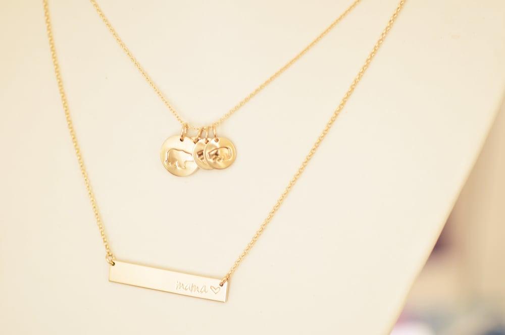 Image of Mama Bear - Baby Bear Disc Necklace - Mama Bear Disk Necklace - Mother's Necklace
