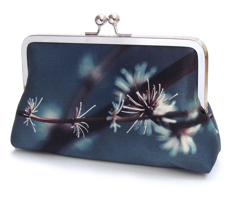 Image of Silver twigs clutch purse, blue silk handbag