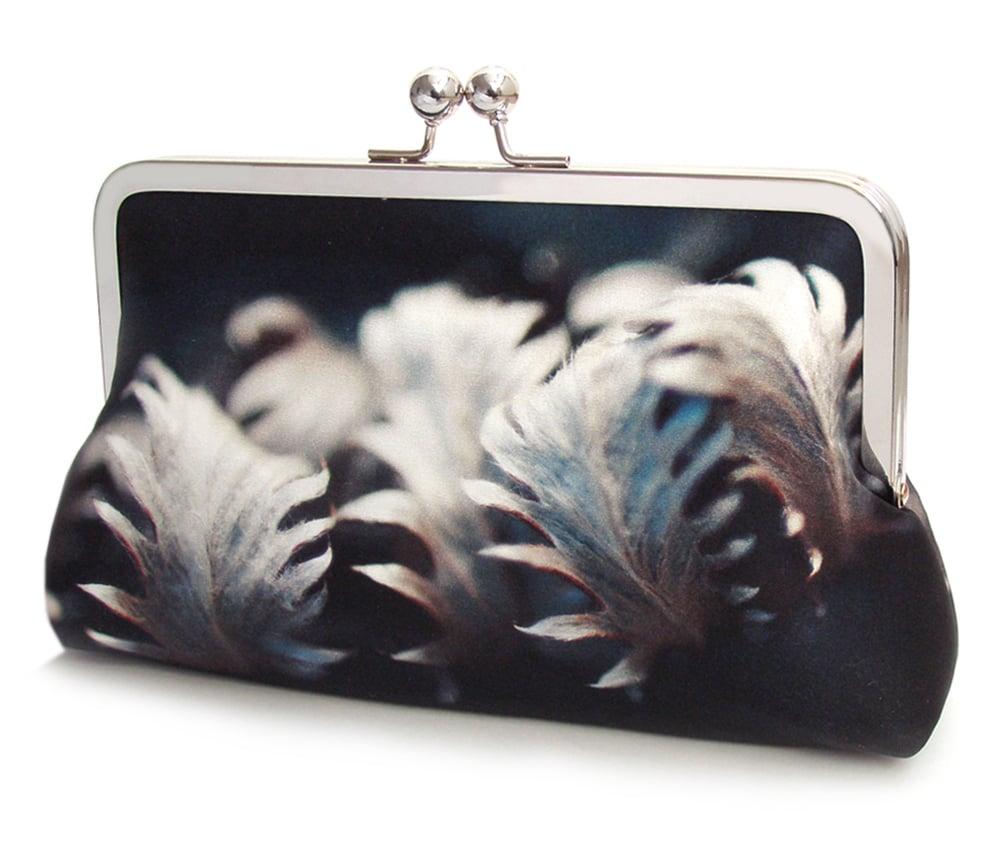 Image of Silver leaves, navy leaf clutch bag, silk handbag