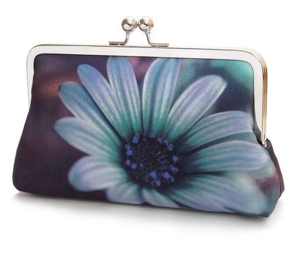 Image of Blue Daisy clutch bag