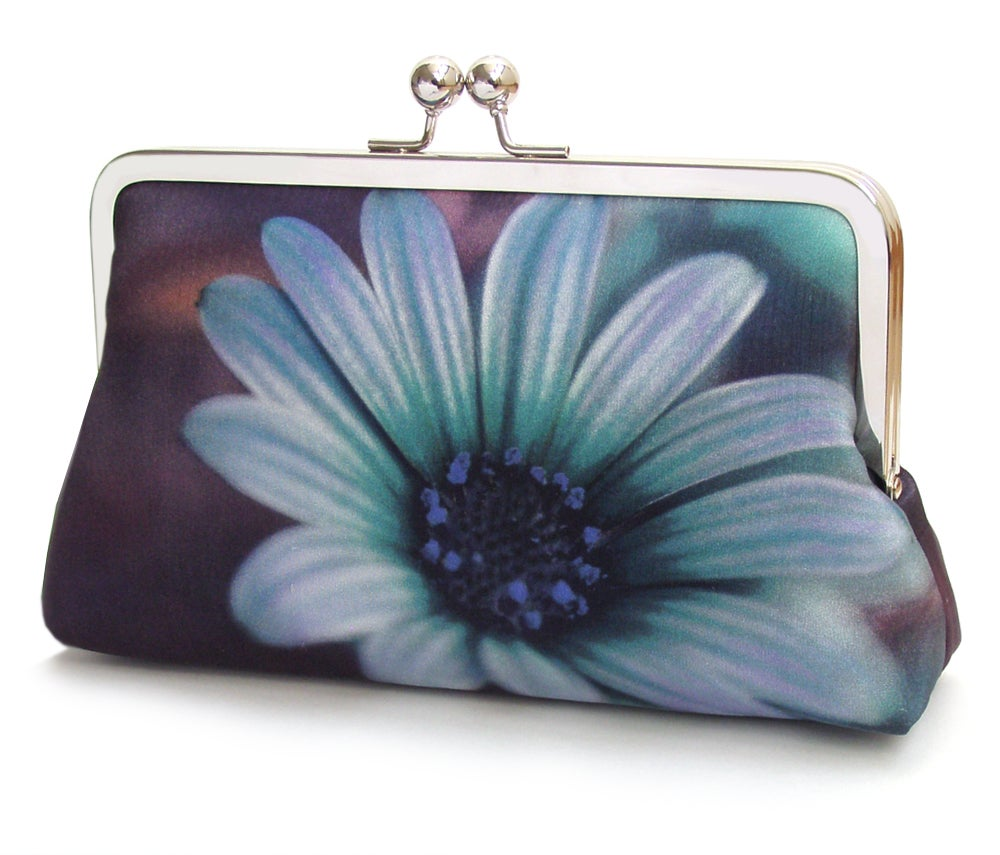 Image of Daisy clutch bag, blue flower purse, printed silk handbag