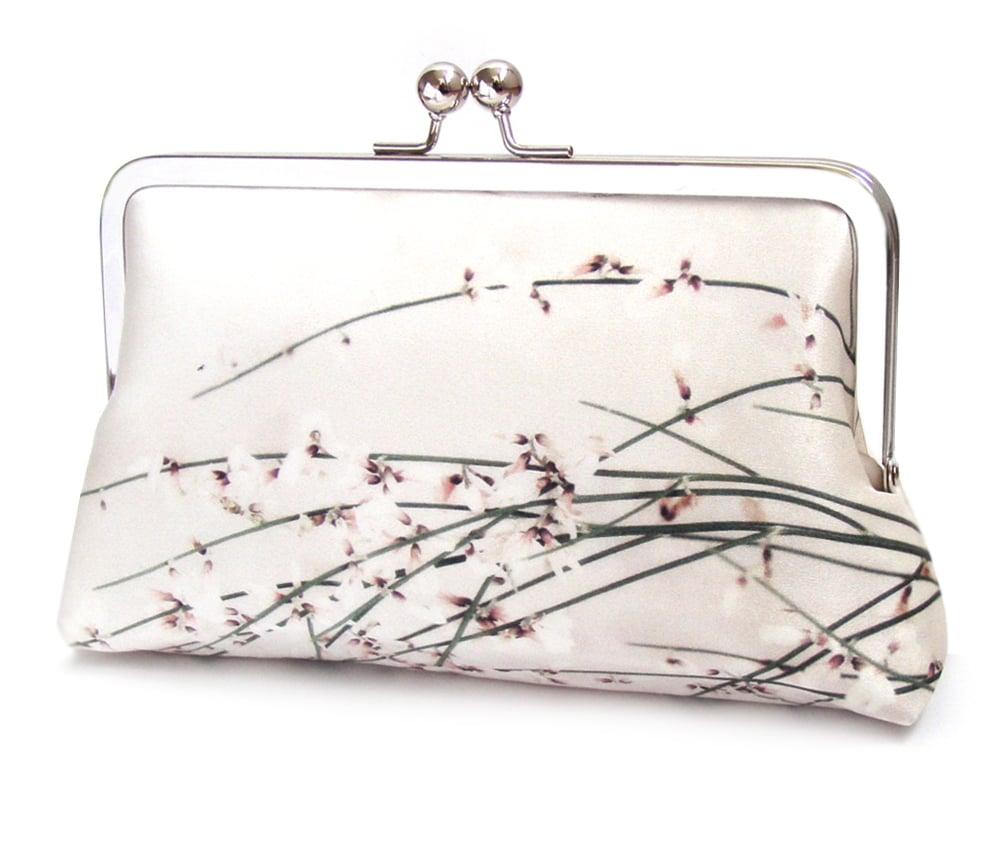 Image of Flower blossom silk purse, floral, wedding purse, bridesmaid gift
