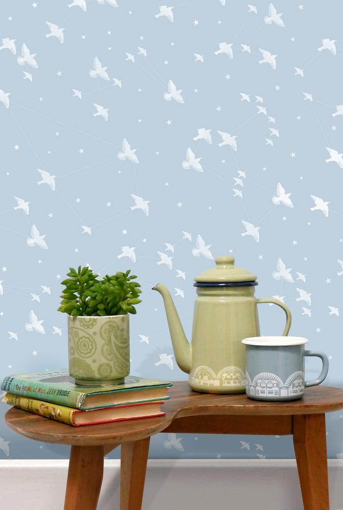Image of Star-ling Wallpaper - Powder Blue