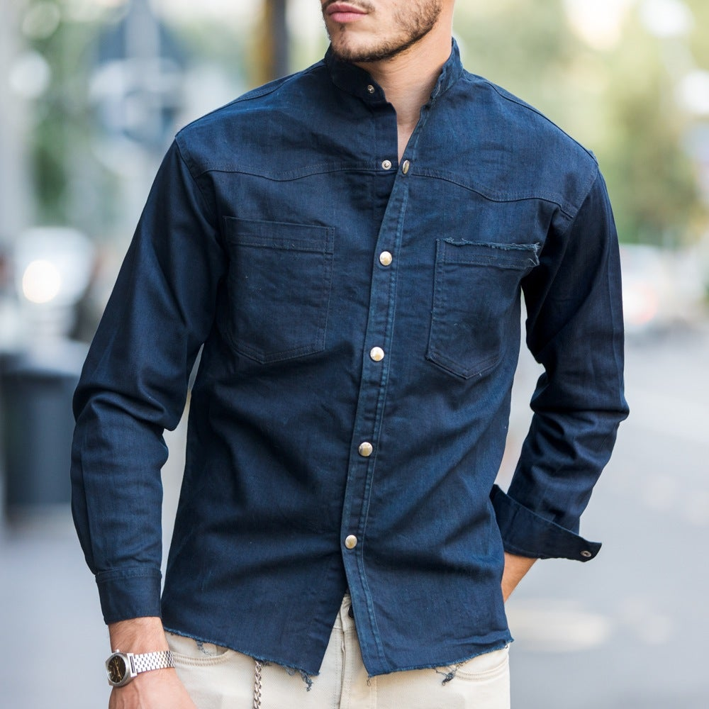 Image of CAMICIA ICONIC DENIM BLUE SCURO