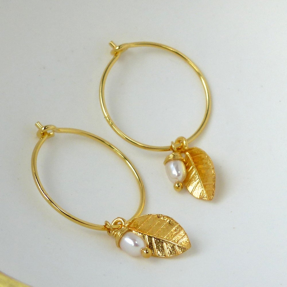 Image of Gold Leaf And Freshwater Rice Pearl Hoops