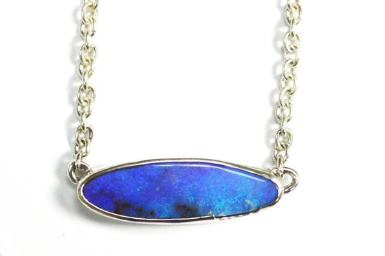 Image of Blue boulder opal necklace
