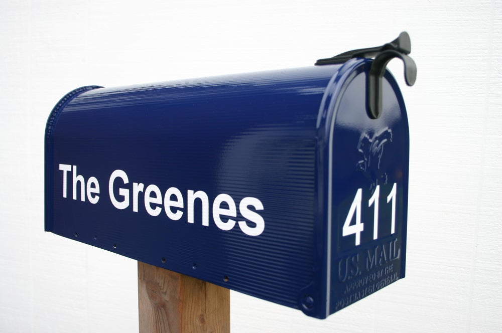 Image of Navy Blue Painted Mailbox by TheBusBox - Choose your color School Spirit Colorful Custom