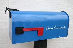 Image of Brilliant Blue Painted Mailbox by TheBusBox - Choose your color Wedding Birthday Gift