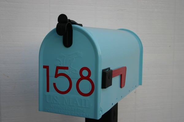 Image of Aqua Painted Mailbox by TheBusBox - Choose your color - Tiffany Blue Wedding Housewarming