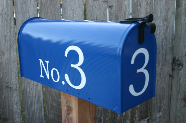 Image of Deep Blue Painted Mailbox by TheBusBox - Choose your color Birthday Housewarming Wedding Gift