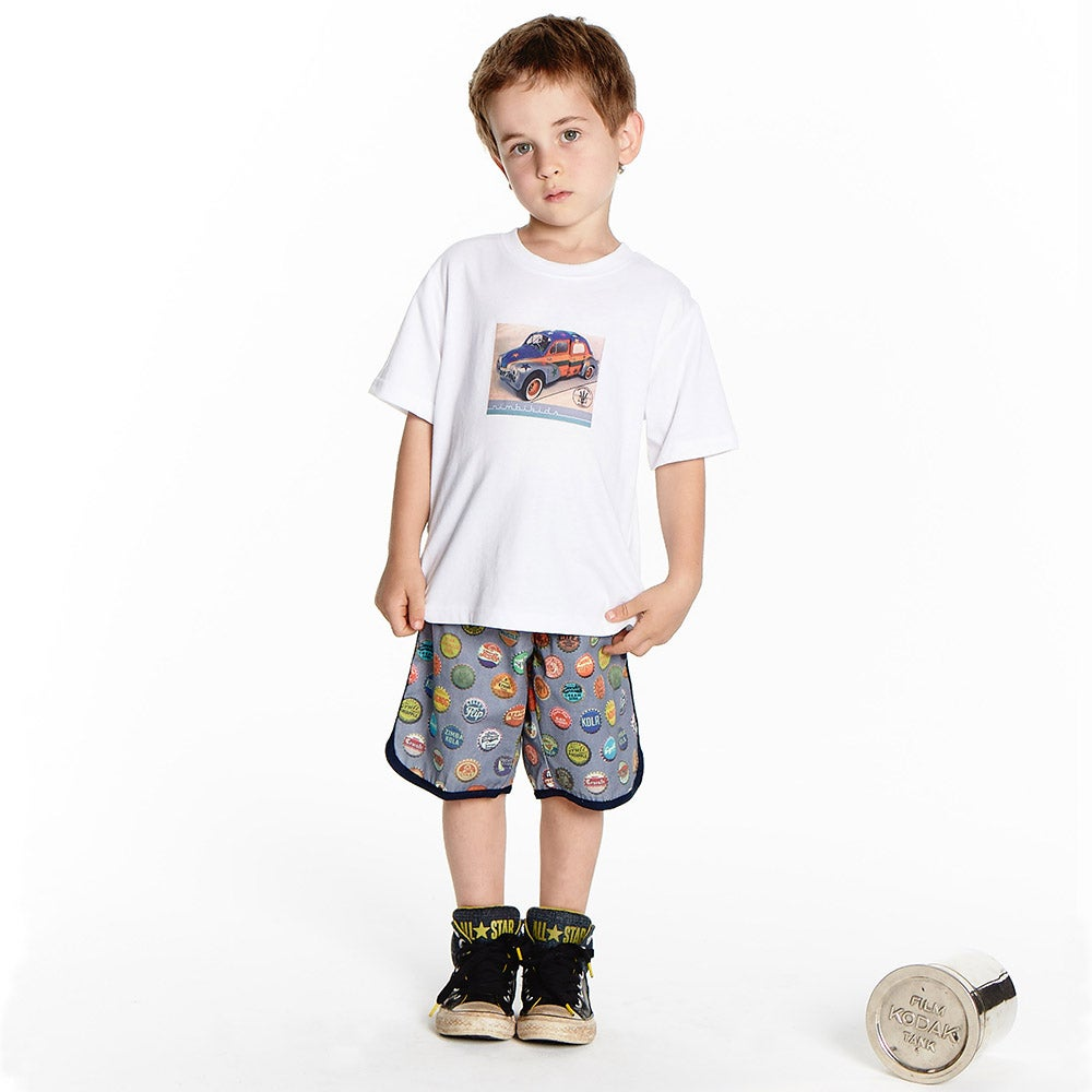 Image of Boys Retro Travel Shorts -  Vintage Soda Pop > Charcoal Blue