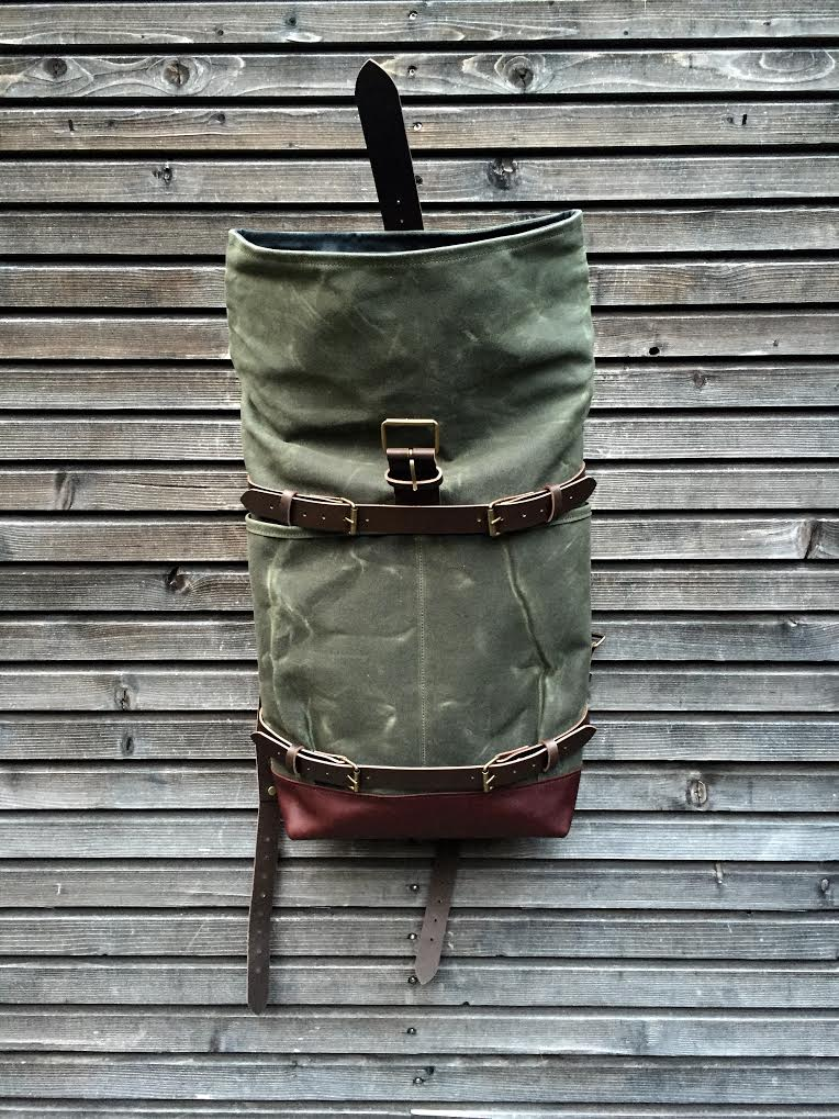 Image of Backpack with skateboard attachment, skateboard backpack in waxed canvas and leather