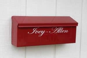 Image of Colonial Red Painted Mailbox by TheBusBox - Choose your color Porch Box Wall Mounted