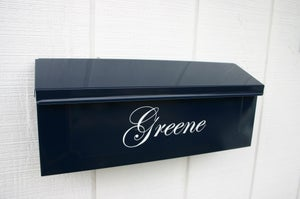 Image of Navy Blue Painted Mailbox by TheBusBox - Choose your color Wall Mounted Porch Box