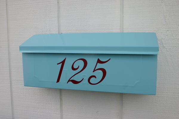 Image of Aqua Painted Mailbox by TheBusBox - Choose your color - Tiffany Blue Wedding Anniversary Gift