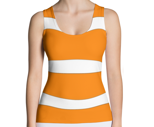 Image of Womens Fashion Top Orange and White Wide Stripe Graphic T-Shirt (Tee Top)
