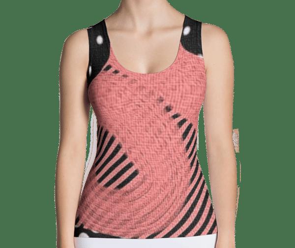 Image of Womens Fashion Top Pink Black Polka Dots Graphic T-Shirt