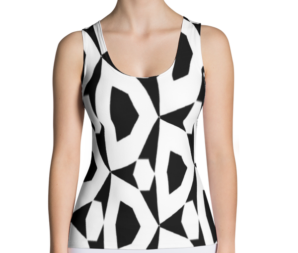 Image of Womens Fashion Top Black and White Bold Graphic T-Shirt (Tee Top)