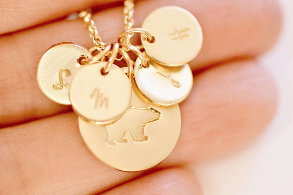 Image of Gold Mama Bear Initial Disc Necklace - Mama Bear Disk Necklace - Mother's Necklace - Family Necklace