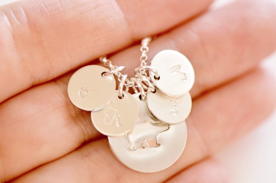 Image of Sterling Silver Mama Bear Initial Disc Necklace - Mama Bear - Mother's Necklace - Family Necklace