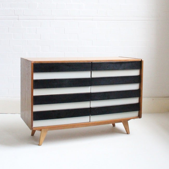 Image of Black and white sideboard by Jiří Jiroutek for Interiér Praha, 1965