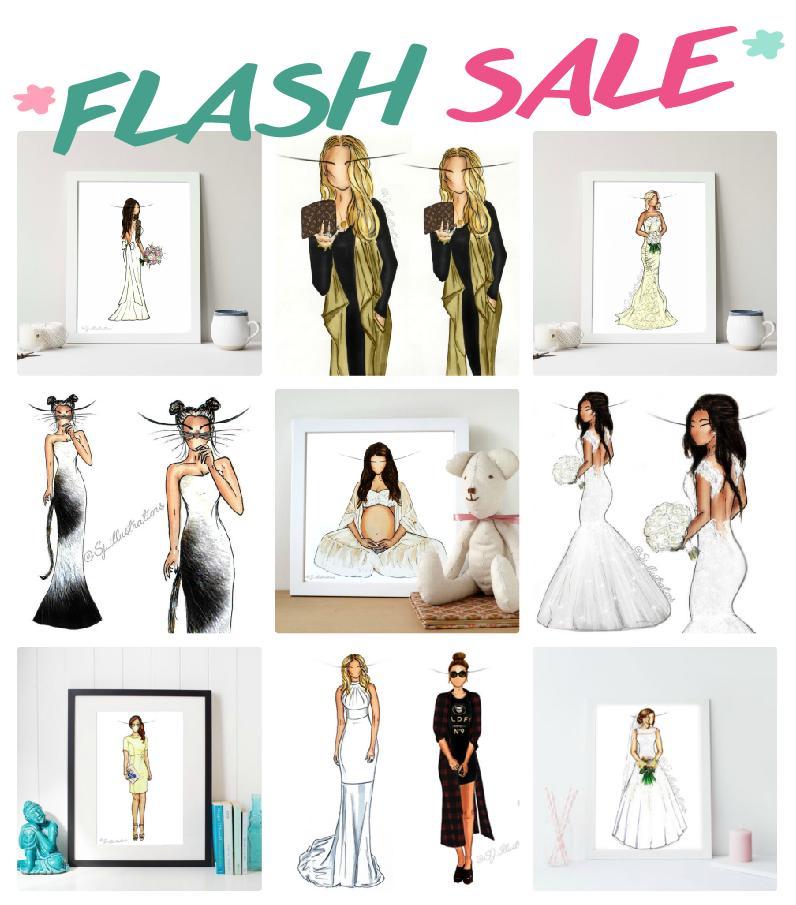 Image of *FLASH SALE* Illustration - Bridal - Fashion - Graduation - Prom - Maternity - Birthday